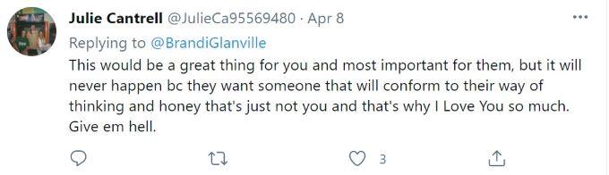 Screenshot in support of Brandi Glanville.