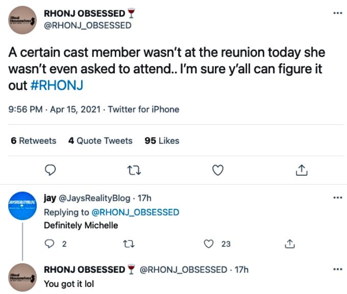Michelle Pais was not at the RHONJ reunion