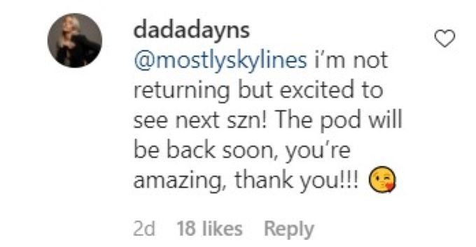 Screenshot of Dayna's Instagram comment.