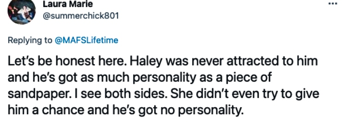 Twitter weighs in on Haley and Jacob.