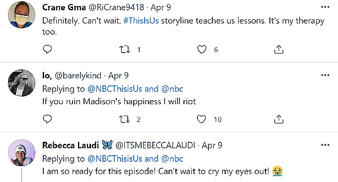 This is Us fans comment on Twitter.