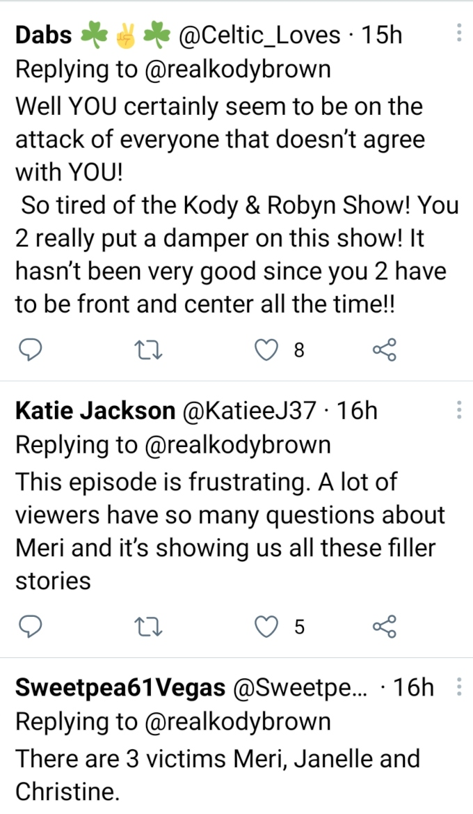 Kody Brown of Sister Wives on Twitter
