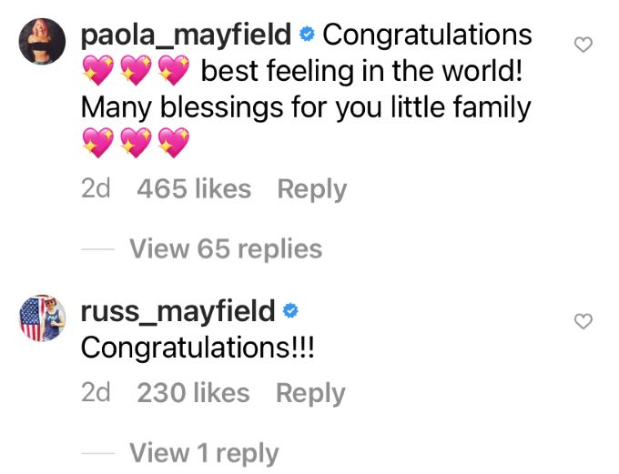 Paola and Russ Mayfield's congratulation messages to Jorge's baby announcement.