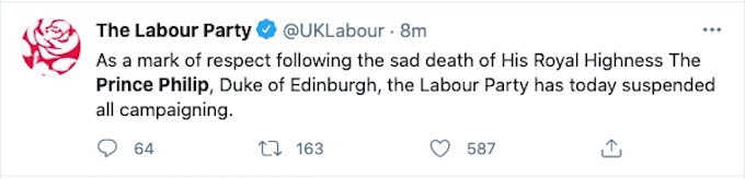 Labour Party Tweet about Prince Philip's death