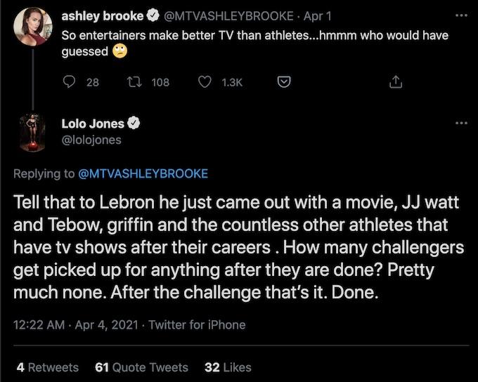 ashley mitchell of the challenge tweet lolo jones replies