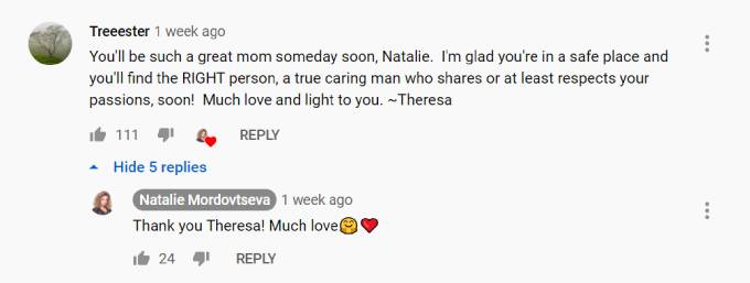 A fan leaves a positive comment on Natalie's cooking video.