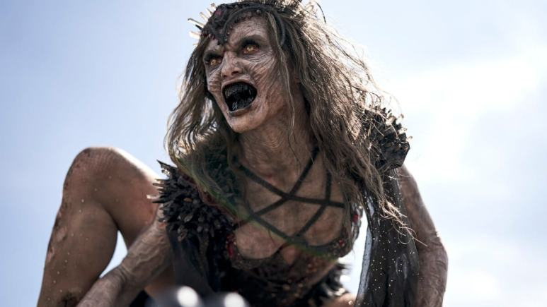 Athena Perample as Zombie Queen in Army of the Dead.