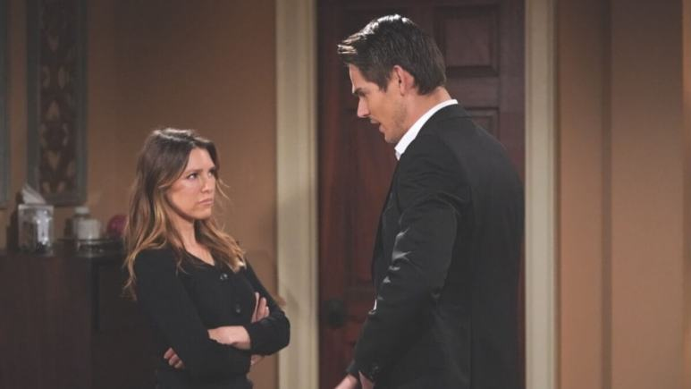 The Young and the Restless spoilers teae Chloe faces off with Adam.