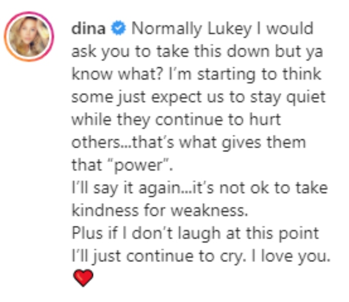 Dina reacts to Caroline's recent actions