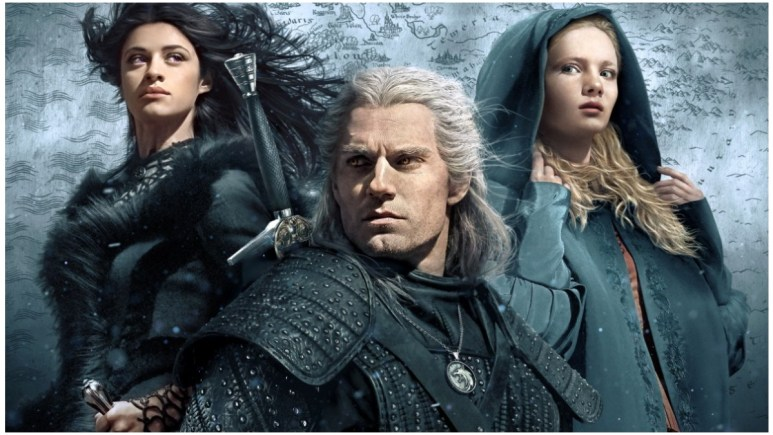 Season 1 poster for Netflix's The Witcher featuring Anya Chalotra as Yennefer of Vengerberg, Henry Cavill as Geralt of Rivia, and Freya Allan as Ciri
