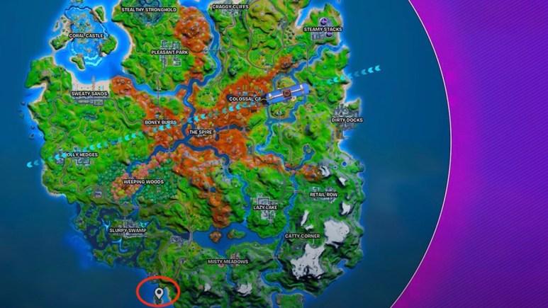 where to find isla nublada on fortnite map