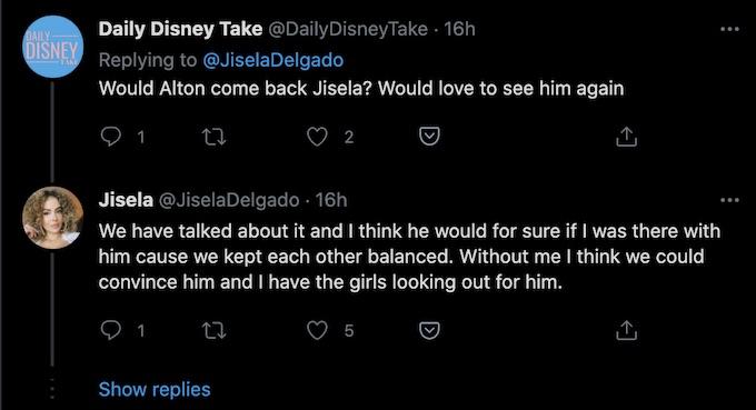 jisela delgado tweet about alton returning for the challenge