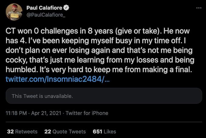 paulie calafiore tweets about ct tamburello the challenge