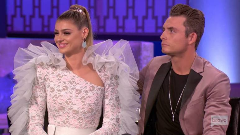 Raquel Leviss and James Kennedy film for the Vanderpump Rules reunion