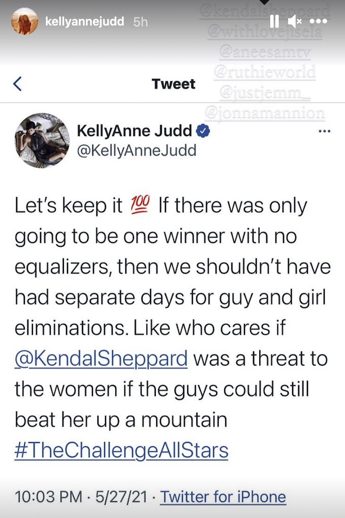 the challenge kellyanne judd calls out final in tweet