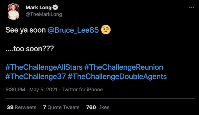 mark long tweets leroy garrett about the challenge all stars
