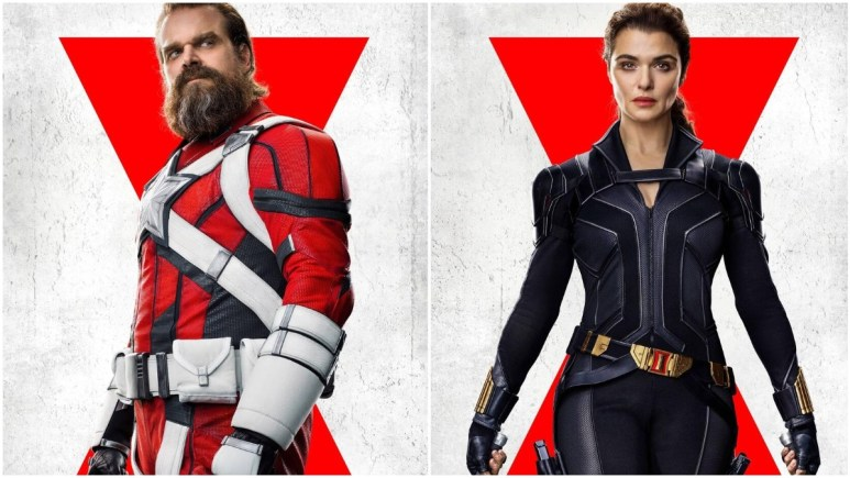 David Harbour as Red Guardian and Rachel Weisz as Melina Vostkoff in Black Widow