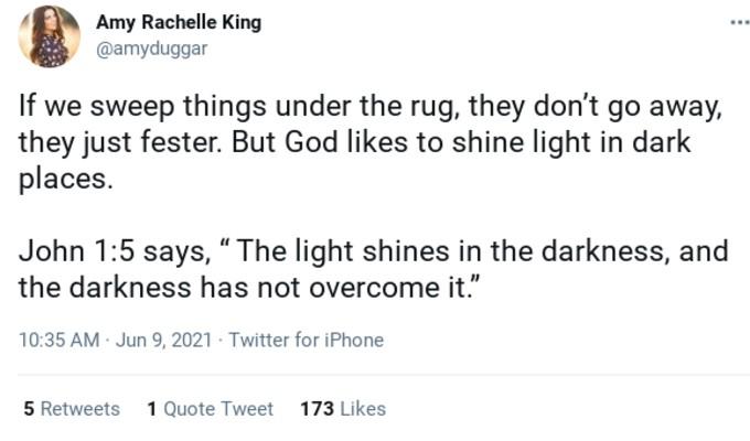 Amy Duggar King's tweet.