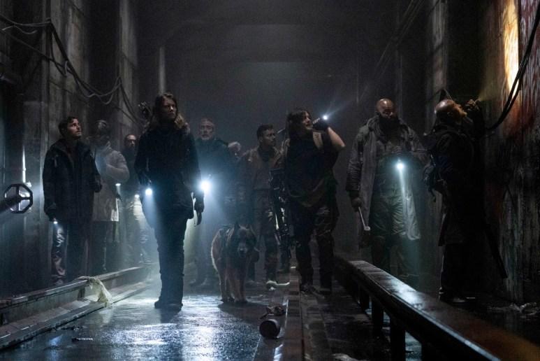 Lauren Cohan as Maggie Rhee, Jeffrey Dean Morgan as Negan, Norman Reedus as Daryl Dixon, and Seth Gilliam as Father Gabriel, as seen in Season 11 of AMC's The Walking Dead