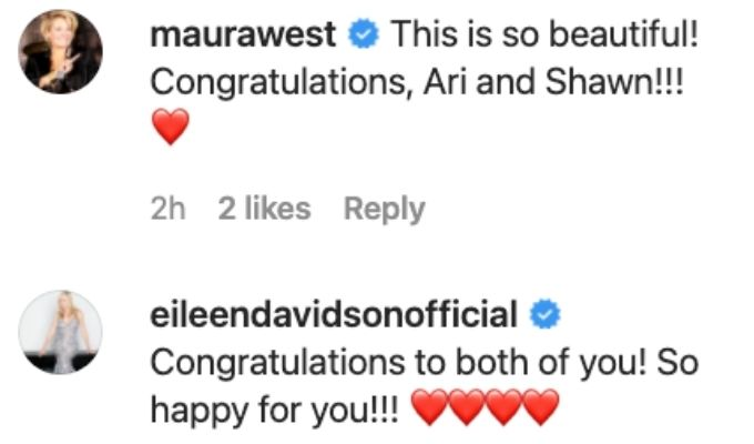 Maura West and Eileen Davidson comment on Shawn's post.