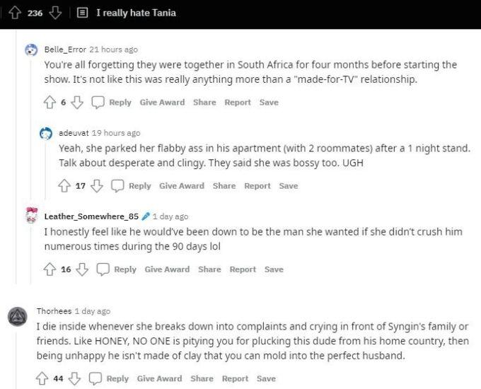 Reddit thread about Tania Maduro