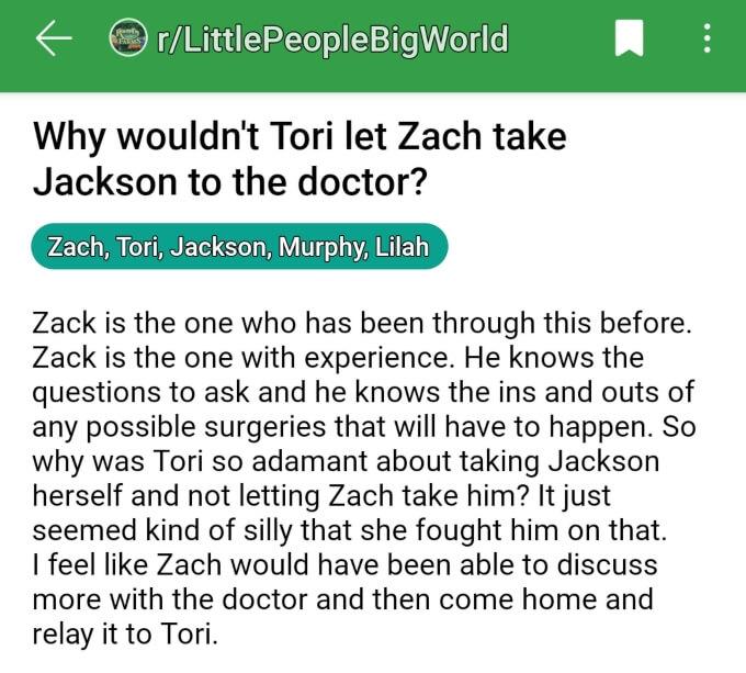 Tori and Zach Roloff of LPBW on Reddit