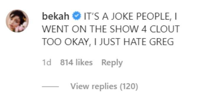 Bekah Martinez comments on her podcast's Insta post