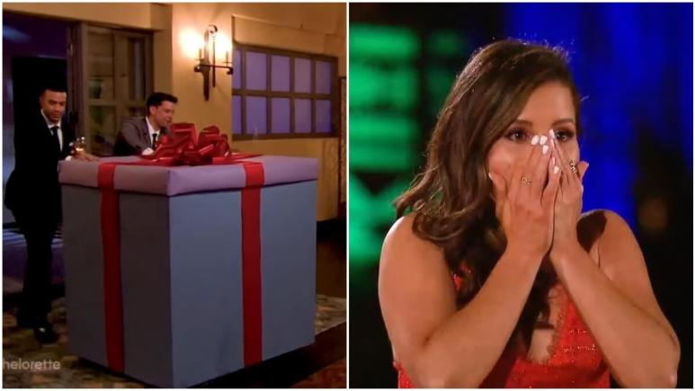 Katie Thurston meets a contestant in a gift box on The Bachelorette