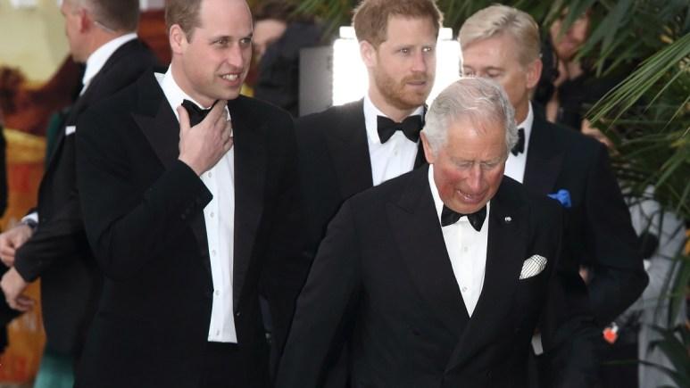 Prince Harry, Prince William, and Prince Charles.