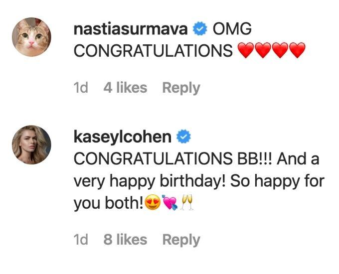 Kasey and Anastasia congratulate Brooke on engagment.