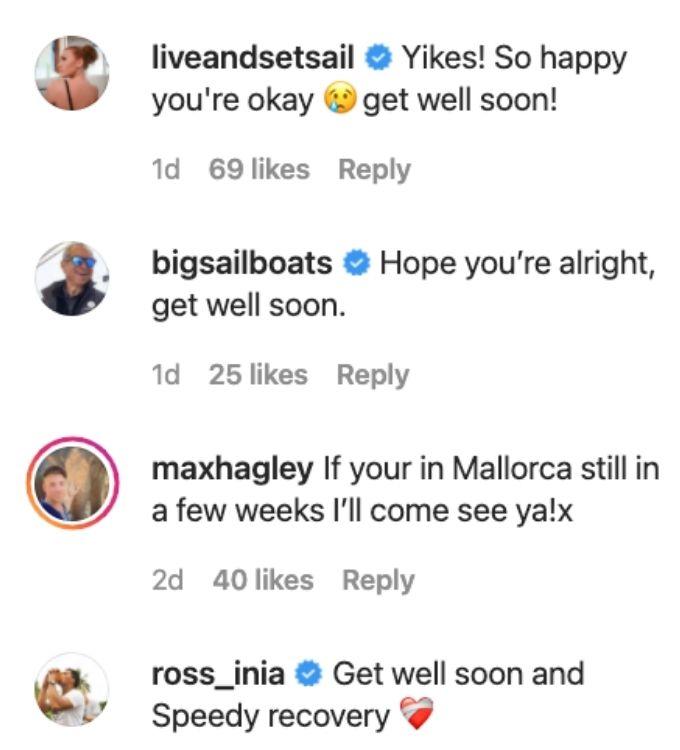 Captain Glenn, Ciara, Ross and Max react to Malia's accident news.