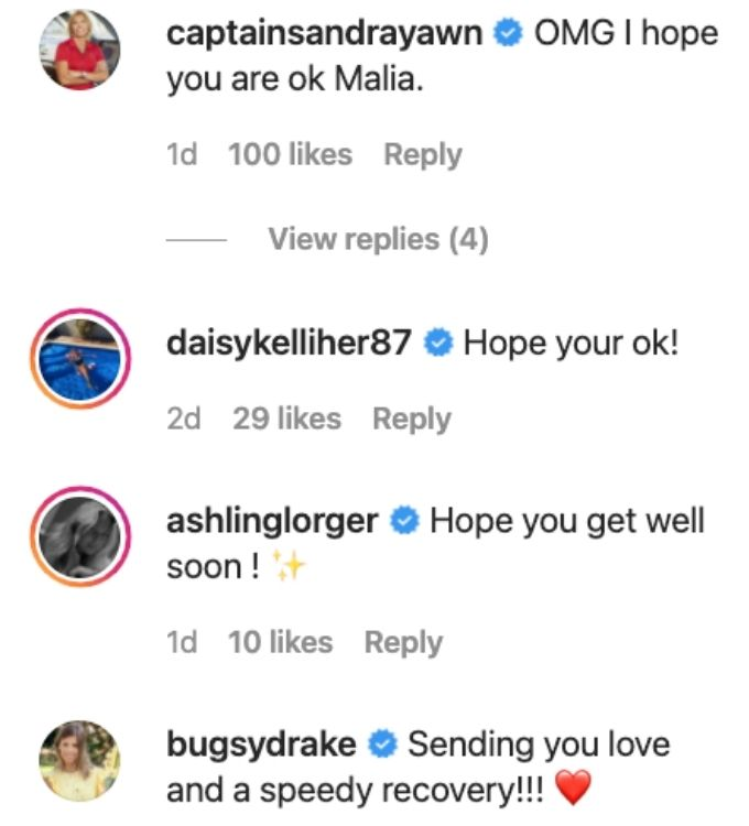 Malia's Below Deck family reacts to her accident.