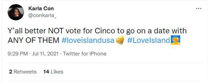 Cinco voting tweet