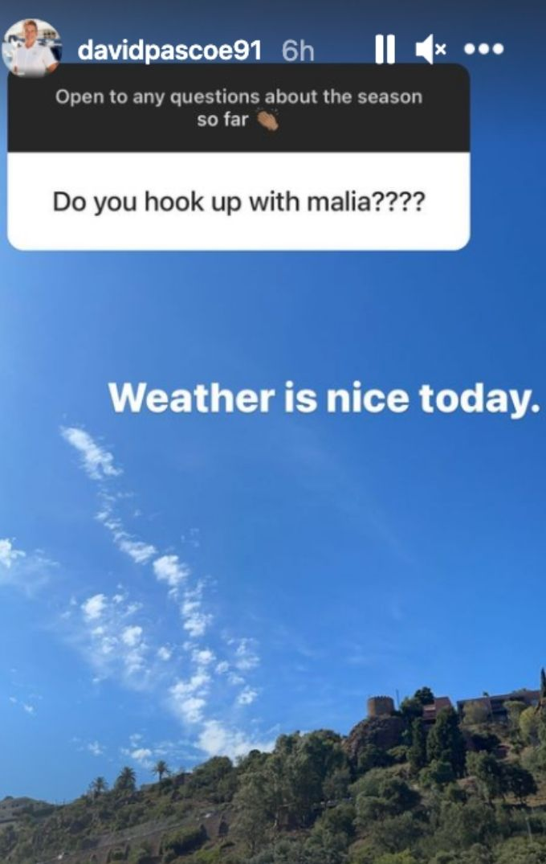 David avoids Malia hook up question.