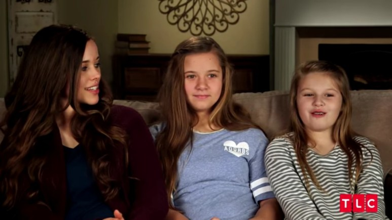 The Duggar girls in a confessional.