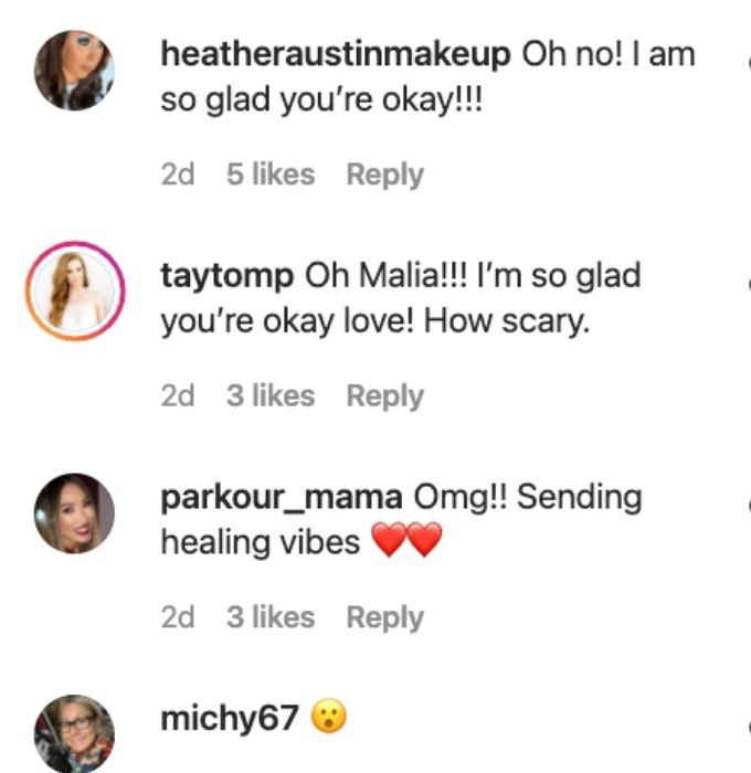 Fans send Malia well wishes after acciddent.