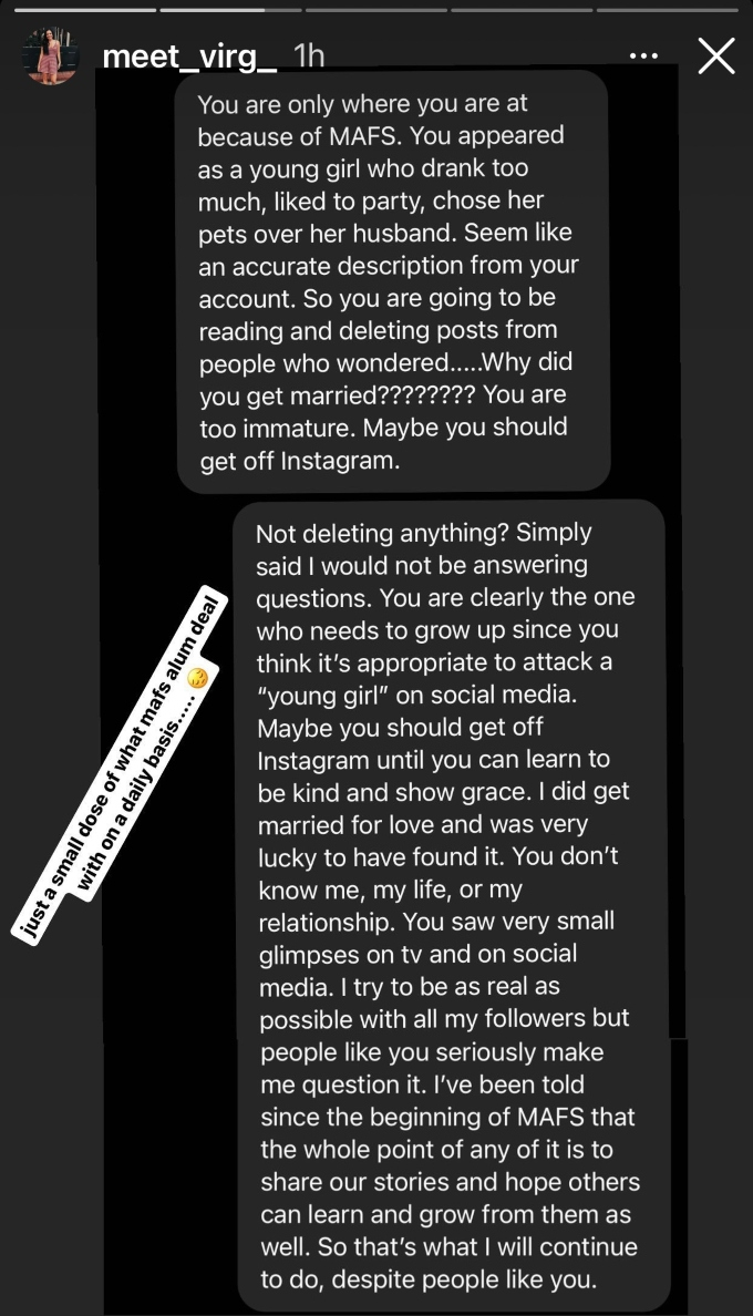 MAFS star Virginia Coombs claps back at comment