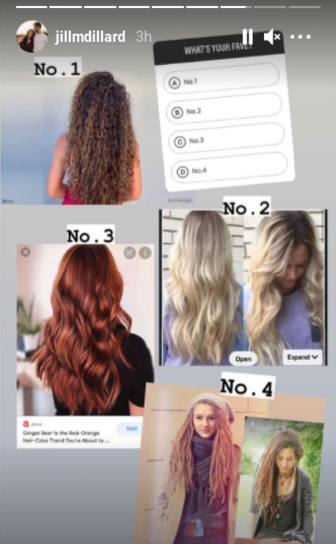 The choices Jill Duggar shared with her followers.