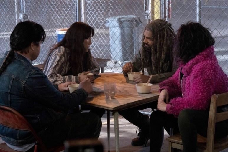 Josh McDermitt as Eugene, Eleanor Matsuura as Yumiko, Khary Payton as Ezekiel, and Paola Lazaro as Princess, as seen in Season 11 of AMC's The Walking Dead