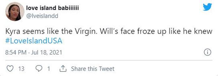 Kyra a virgin on Love Island USA tweet