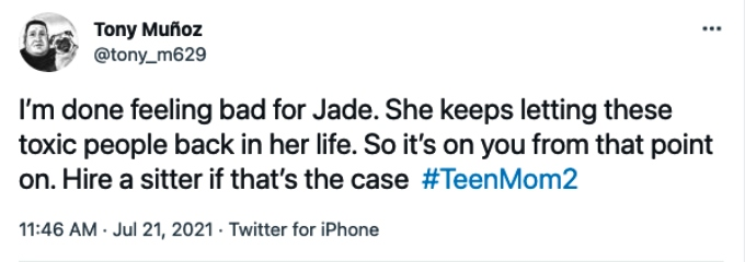 Teen Mom 2 fan frustrated with Jade Cline