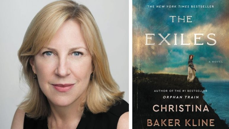 Image of Christina Baker Kline and The Exiles book cover.