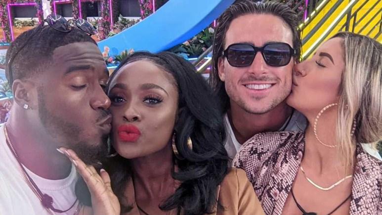Trina and Cinco with Jeremy and Florita on Love Island USA