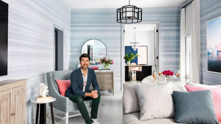 Brian Patrick Flynn sitting in a beautifully designed room