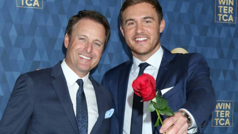 Chris Harrison and Peter Weber on the red carpet.