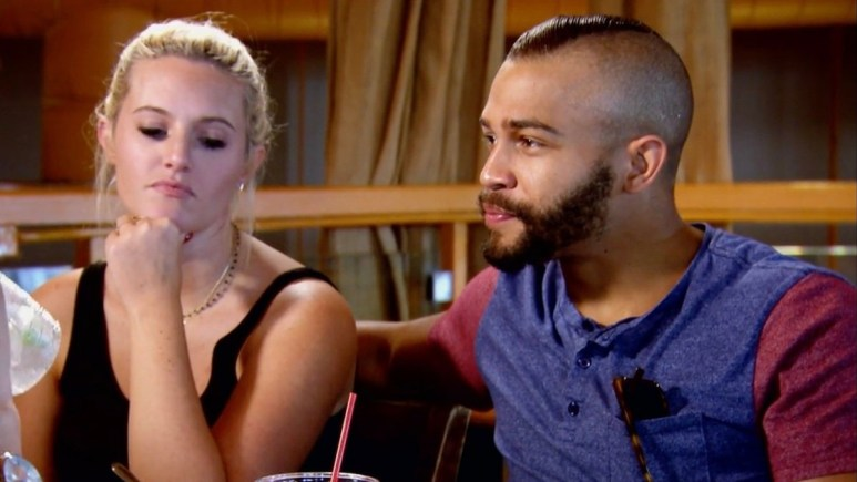 MAFS Clara and Ryan sit next to each other at dinner