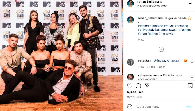renan hellemans poses with ex on the beach double dutch cast