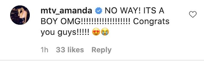 amanda garcia reacts kyle christie baby gender reveal clip