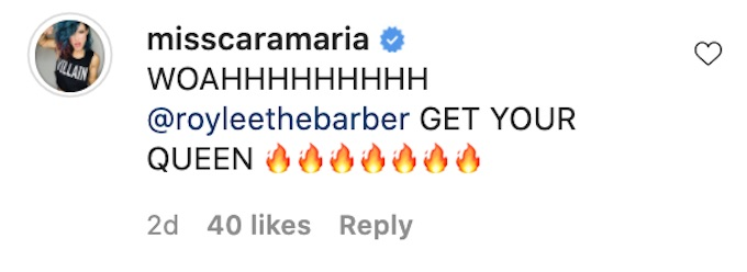 the challenge cara maria comments on kam williams ig post