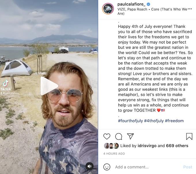 paulie calafiore shares papa roach challenge video